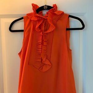 J Crew hot orange collar blouse